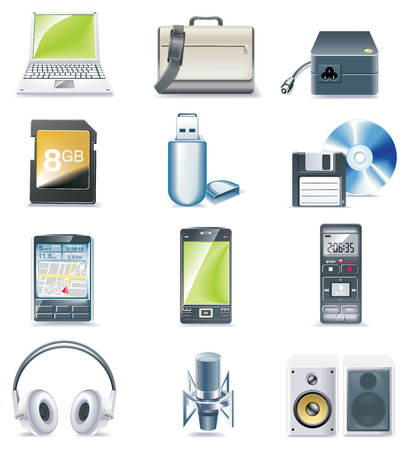 electronic devices: Vector detailed computer parts icon set. Part 3