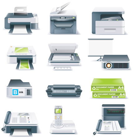 hardware configuration: Vector detailed computer parts icon set. Part 4 Illustration