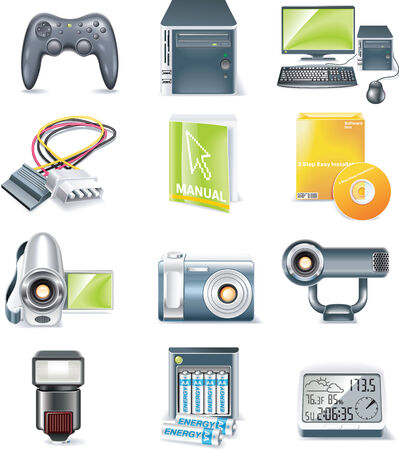 componentes: Piezas de computadoras detallada vector icono conjunto. Parte 5