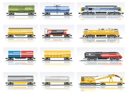 ferrocarril: Vector de transporte de ferrocarril icono conjunto Vectores