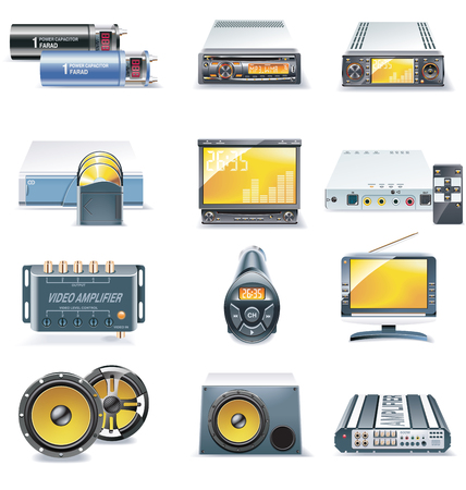 fm radio: Vector car stereo systems icons