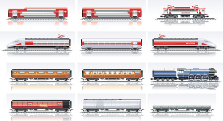 ferrocarril: De transporte ferroviario Vector Icon Set. Parte 2 Vectores