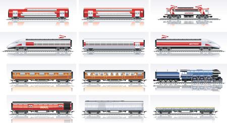 Vector railroad transportation icon set. Part 2