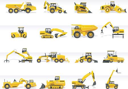 motor de carro: Transporte vector icono conjunto. Tractores Vectores