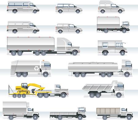 remolques: Transporte vector icono conjunto. Camiones y furgonetas Vectores