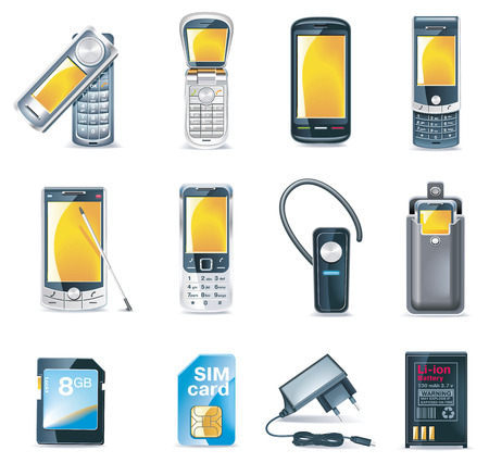Vector mobile phones icon set Vector