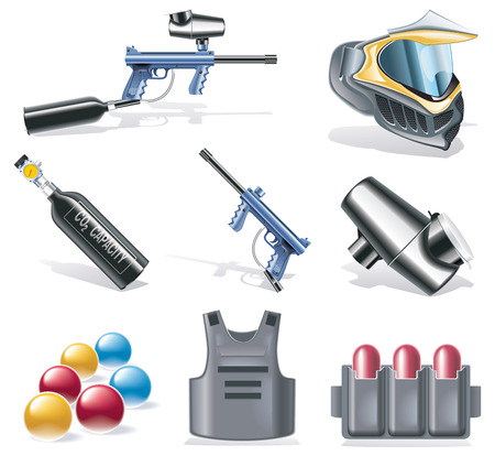 marker: Vector paintball icon set