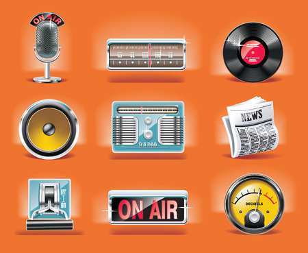 Vector radio icon set (orange background) Vector