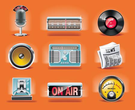 Vector radio icon set (orange background) Stock Vector - 5260208