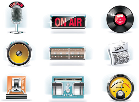 Vector radio icon set (white background) Vector