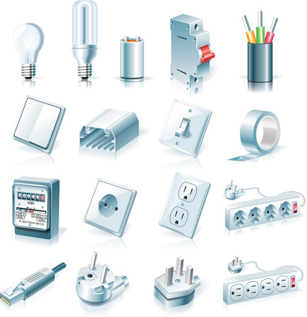 sockets: Vector electrical supplies icon set