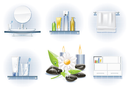 cupboard: Vector bath icon set Illustration