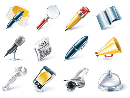 Vector communication and media icon set