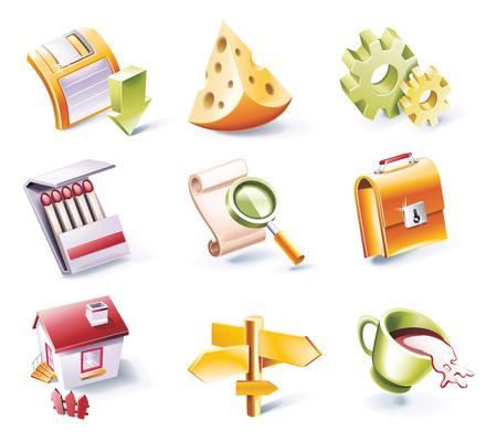 caja de cerillas: Conjunto de iconos de estilo de dibujos animados de vector. Parte 2