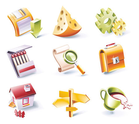 Vector cartoon style icon set. Part 2 Stock Vector - 5446582
