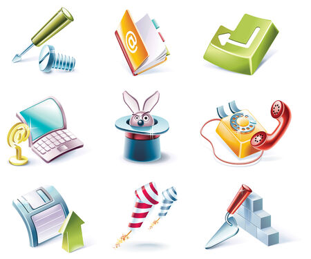 Vector cartoon style icon set Vector