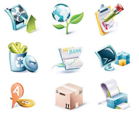 garbage bin: Vector cartoon style icon set. Part 6