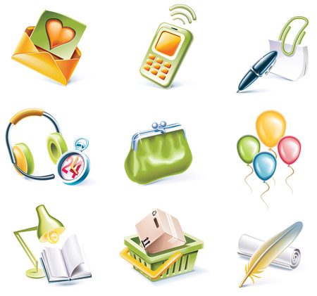 Vector cartoon style icon set. Part 8 Stock Vector - 5547404