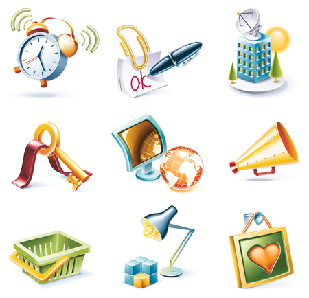 Vector cartoon style icon set. Part 9 Stock Vector - 5547405