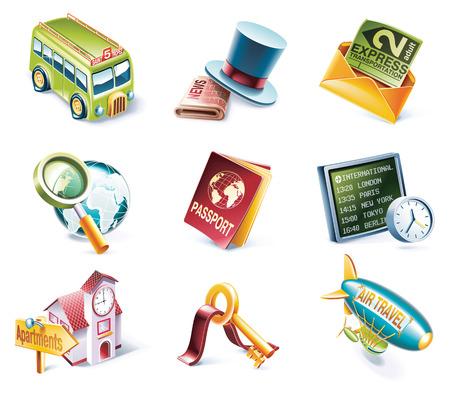 blimp: Vector estilo de dibujos animados Icon Set Vectores