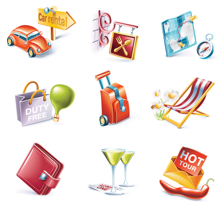 Vector cartoon style icon set Stock Vector - 5567015