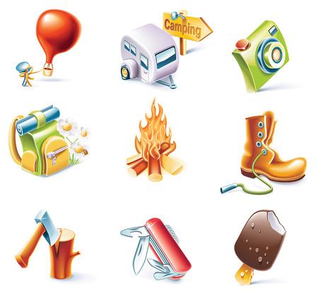 woodpile: Vector cartoon style icon set. Traveling  Illustration
