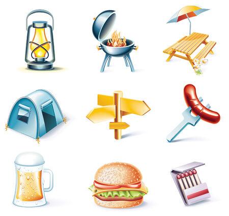 caja de cerillas: Conjunto de iconos de estilo de dibujos animados de vector. Viajando