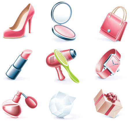 cartoon style icon set. Part 17. Woman`s stuff Stock Vector - 5646104