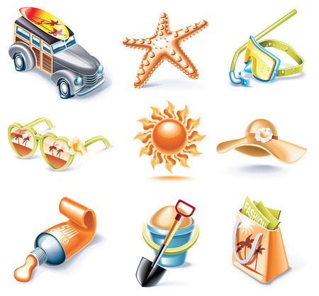 cartoon style icon set. Part 16. Traveling Stock Vector - 5646106