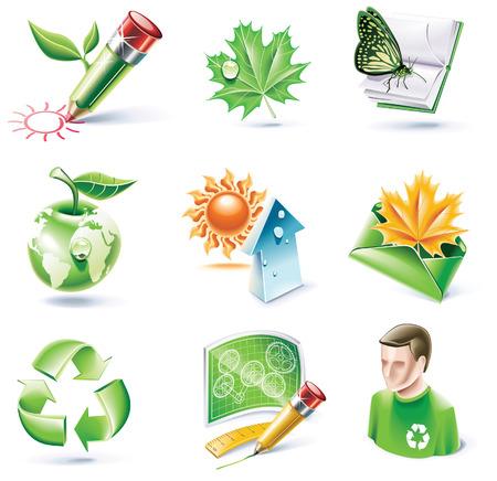cartoon style icon set. Part 18. Ecology Vector