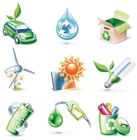 Vector cartoon style icon set. Part 19. Ecology Stock Vector - 5672892