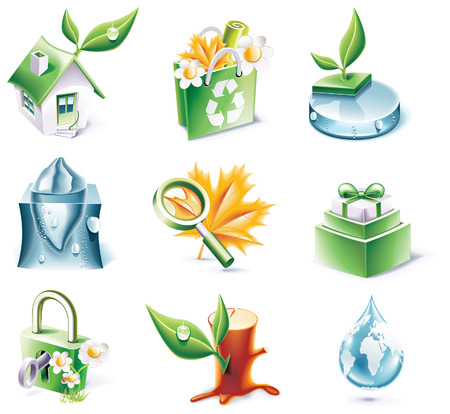 Vector cartoon style icon set. Part 20. Ecology Vector