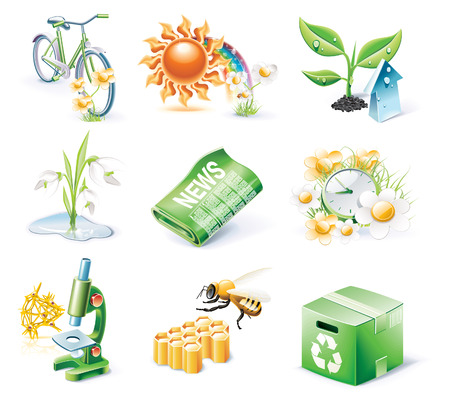 Vector cartoon style icon set. Part 21. Ecology Vector