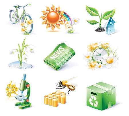 Vector cartoon style icon set. Part 21. Ecology
