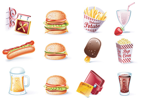 burger and fries: cartoon style icon set. Part 22. Fast Food Illustration