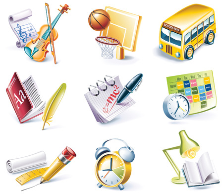 cartoon style icon set. Part 24. School Vector