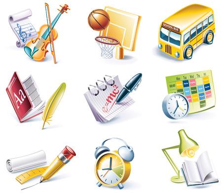 leccion: icono de estilo de dibujos animados conjunto. Parte 24. Escuela