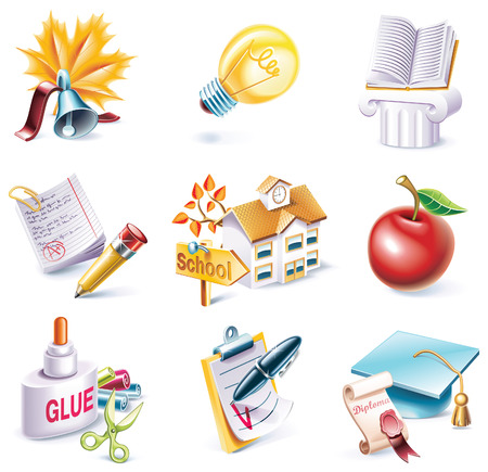 glue: Cartoon-Stil-Icon-Set. Teil 25. Schule  Illustration