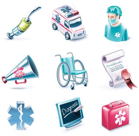 medico caricatura: Conjunto de icono de estilo de dibujos animados del vector. Parte 26. Medicina Vectores