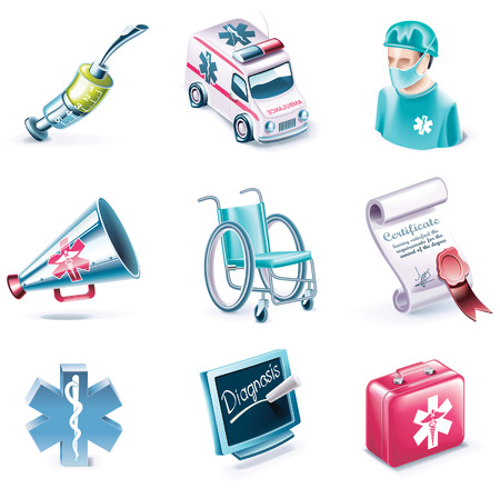 doctor toys: Vector cartoon style icon set. Part 26. Medicine