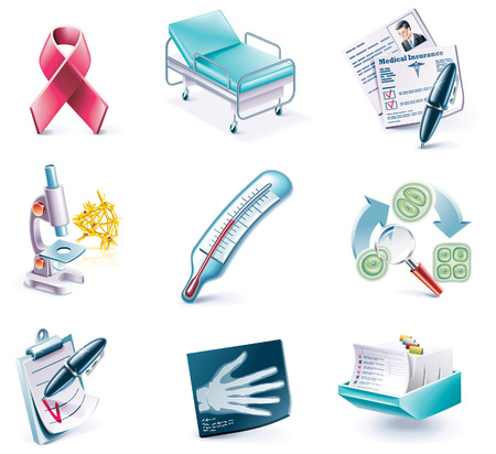 hospitals: Vector cartoon style icon set. Part 27. Medicine