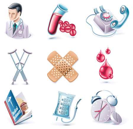 Vector estilo de dibujos animados Icon Set. Parte 28. Medicina