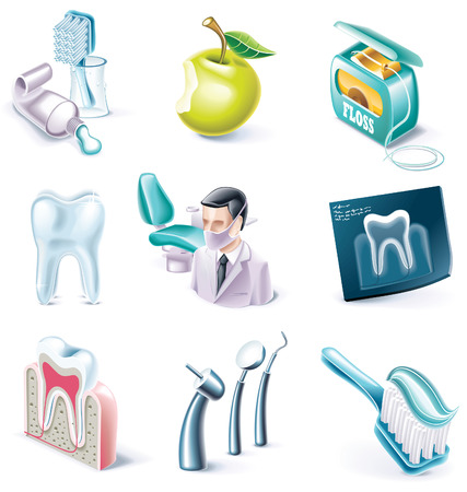 Vector cartoon style icon set. Part 31. Medicine Stock Vector - 5846973