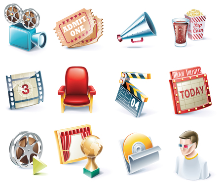 movie set: Vector cartoon style icon set. Part 32. Movie Illustration