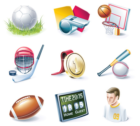 cartoon style icon set. Part 33. Sport Vector