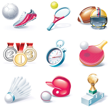 cartoon style icon set. Part 34. Sport Vector
