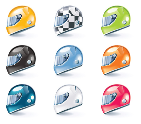 grand prix: Vector racing helmets icons
