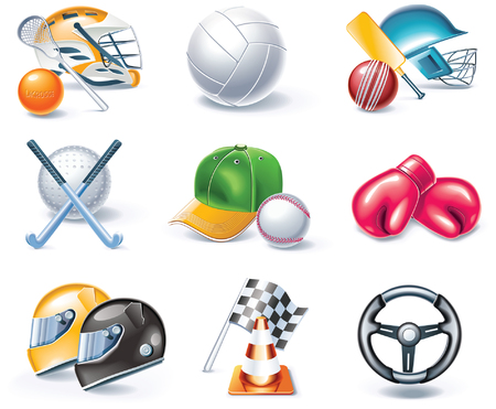 cartoon style icon set. Part 36. Sport Vector