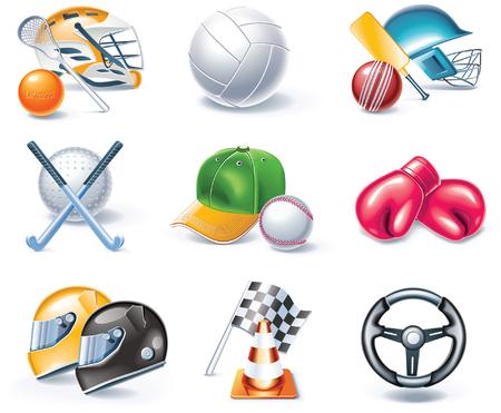cartoon style icon set. Part 36. Sport Vector