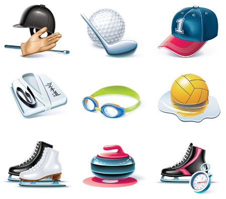 cartoon style icon set. Part 37. Sport Vector